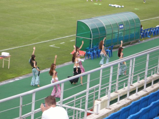 The local belly-dancing troupe provide half-time entertainment