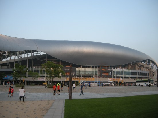 The futuristic-looking Hwaseong Stadium. Shame they didn't about that old invention, the fridge!