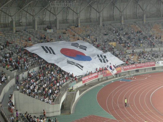 Korean fans fly the 'Taegukgi'