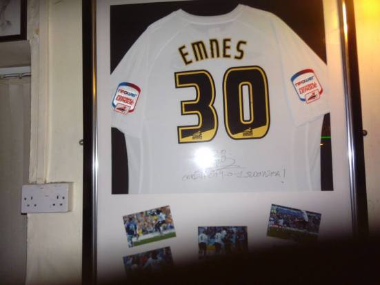 The Marvin Emnes shirt in the Railway - club hero for his winner at the Cardiff City Stadium in the derby.