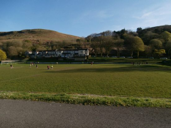 The view from the stand as Dinas Park basks in the early evening Rhondda sunshine.