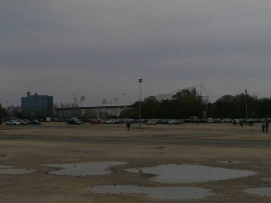 The KC Stadium in the distance from the large car park near the ground.