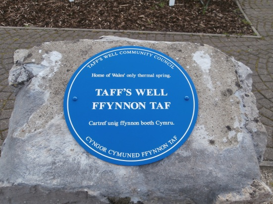 The plaque to recognise Wales' only thermal spring.