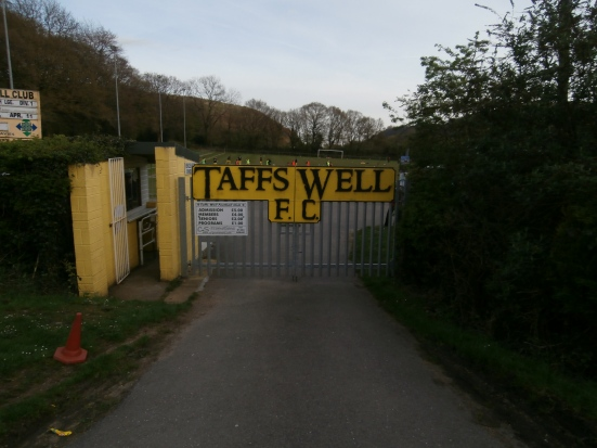 The entrance to Rhiw Dda'r - the home of Taffs Well FC.