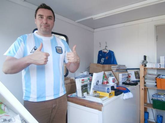 Matt of Llandudno Jet Set fame manning the Bangor City club shop.