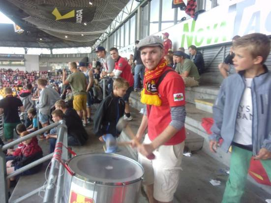 Playing the drums at FC Nordsjaelland.