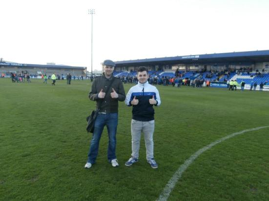 Pitch invaders - Me and Gibbo.