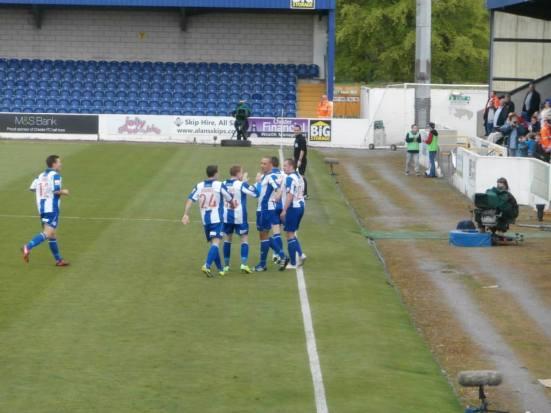 Chester celebrate their goal.