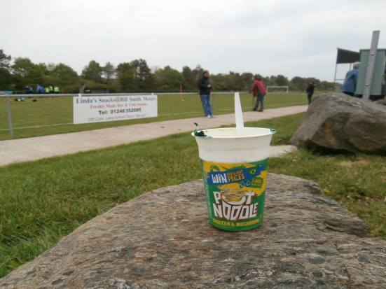 Pot Noodle at football? Madness (but nice).