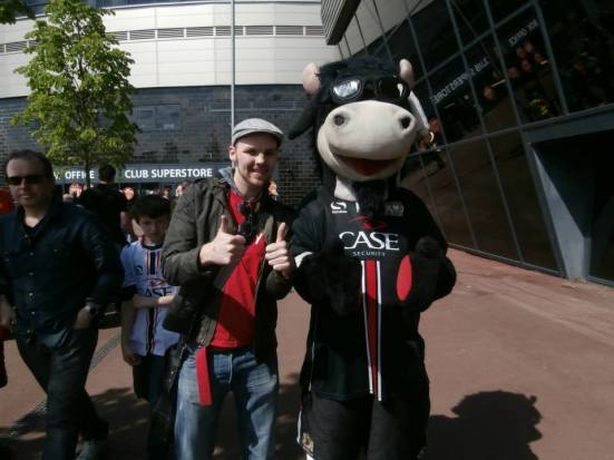 Me and the MK Dons mascot, Donny the Cow.