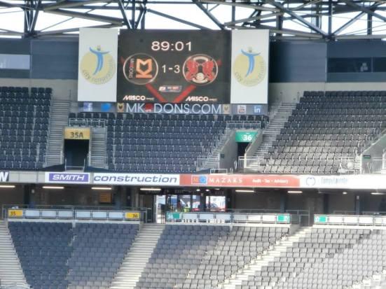 Final score: MK Dons 1 - 3 Leyton Orient.