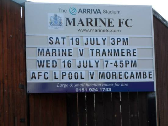 The evening was to take me to the Arriva Stadium for the second time - home of Marine FC and now AFC Liverpool.