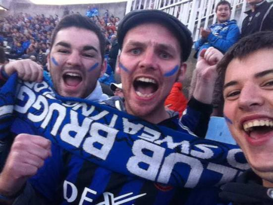Happy Club Brugge fans as the home team score.