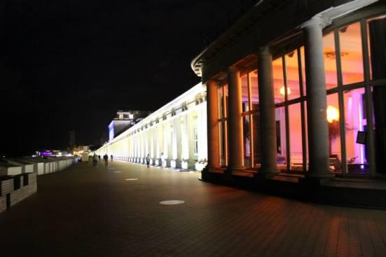 A lit up promenade.