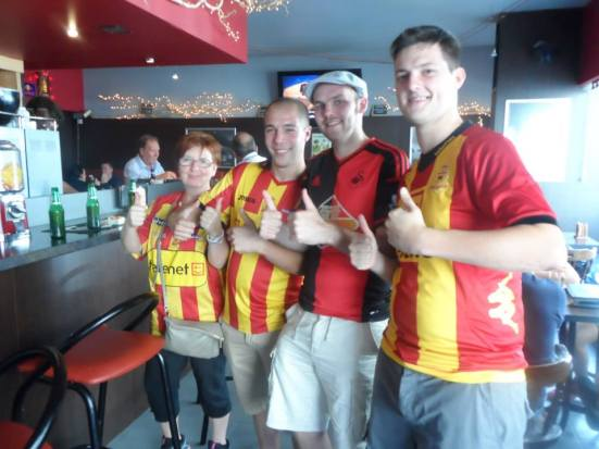With the Mechelen fans watching the Swans game in Madison Sports Arena - the sports bar.