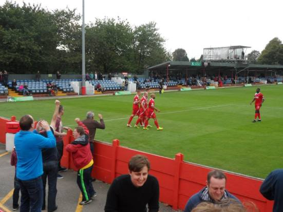 Alfreton celebrate taking the lead.