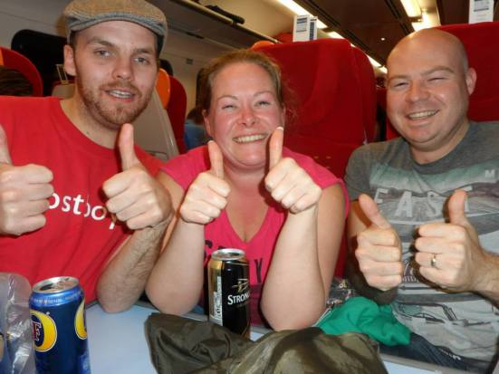 A few drinks on the train with some Oldham fans to finish things off.