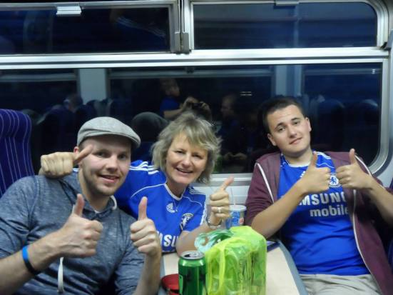Me with Chelsea fans Elaine and James on the way back to Manchester.