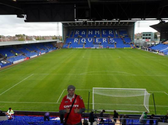 Me and an empty Prenton Park (apart from Dom taking the photo).