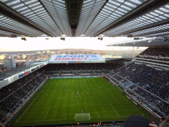 Up in the heavens of the away end at St. James Park.