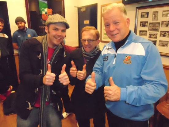 Me and the two Gordons. Gordon 'The Wealdstone Raider' hill and Gordon Bartlett - Wealdstone's long serving manager since 1995.