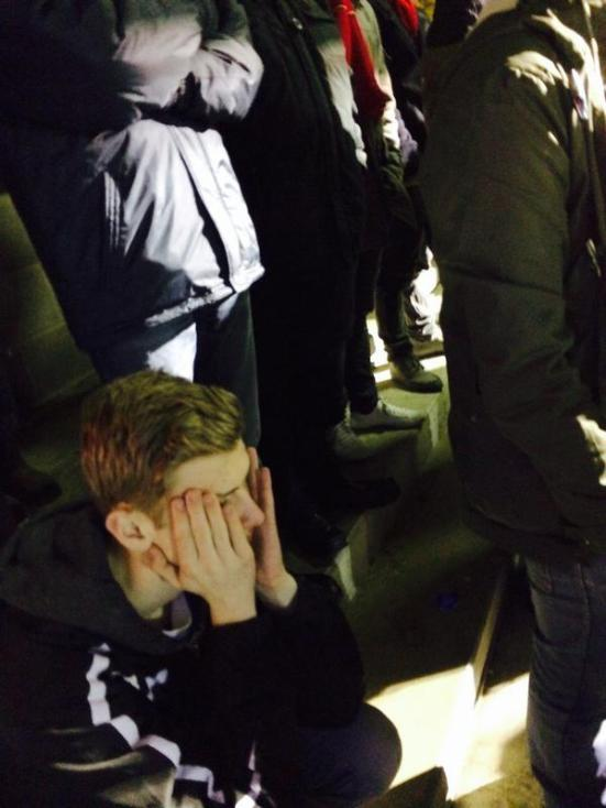 A dejected Craig slumps to the ground as MK Dons equalise. Football, bloody football!