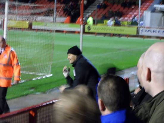 Brian 'The Beast' Jenson coaches Matt Harrold from behind the goal.