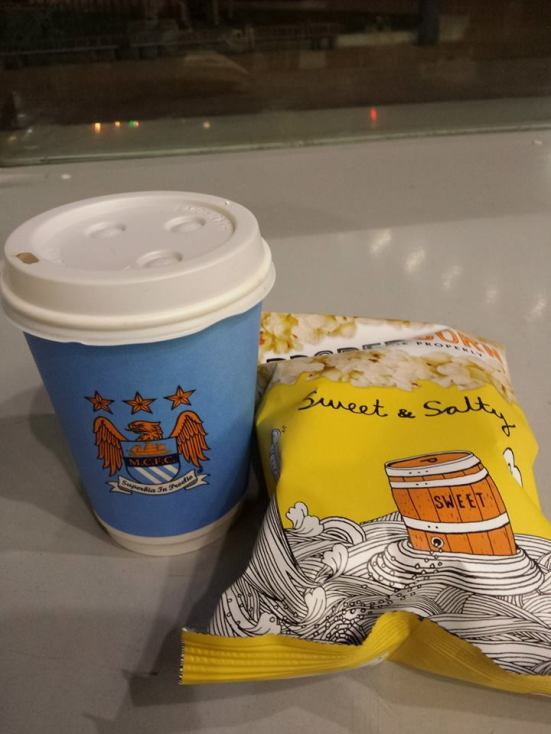Free popcorn and coffee.