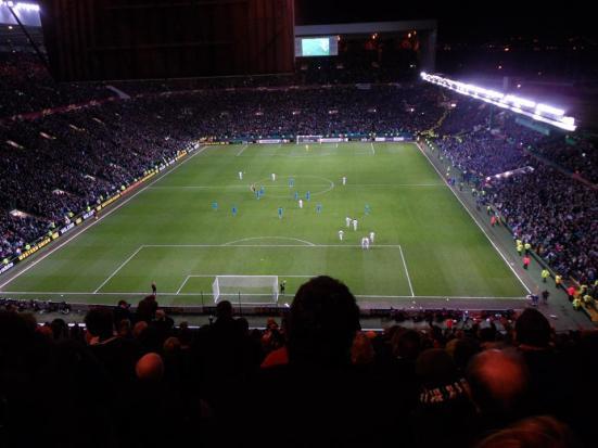 Celtic walking back for kick-off after their last gasp equaliser.