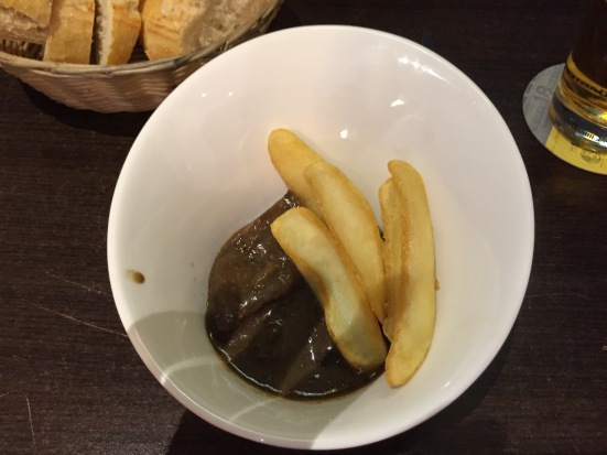 Beef cheeks and chips