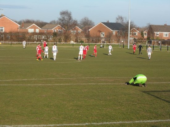 Barnton goalie Lever begins to pray for a result? (I think he may have just been stretching).