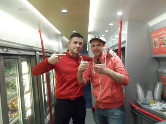 The guy who I told a story too and who then gave me free wine. Well played Virgin trains.
