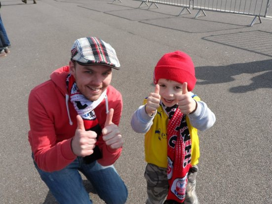 5-year-old Crawley fan Matthew gives the thumbs up.