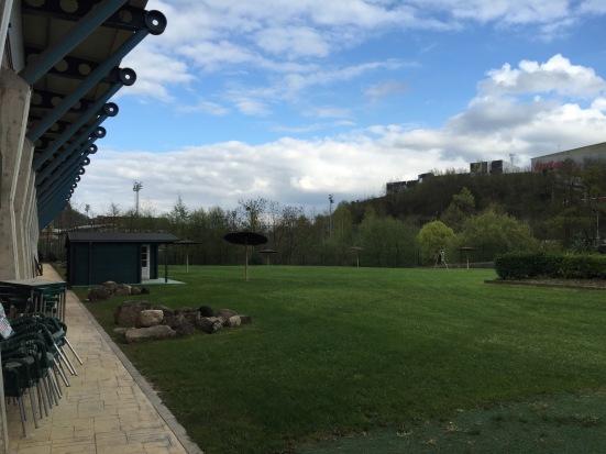 The stadium beer garden / archery field