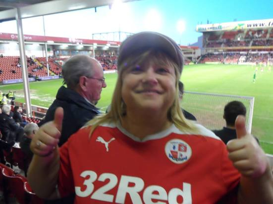 Crawley fan Tracey wants to get in on the Lost Boyos flat cap/double thumbs up action.