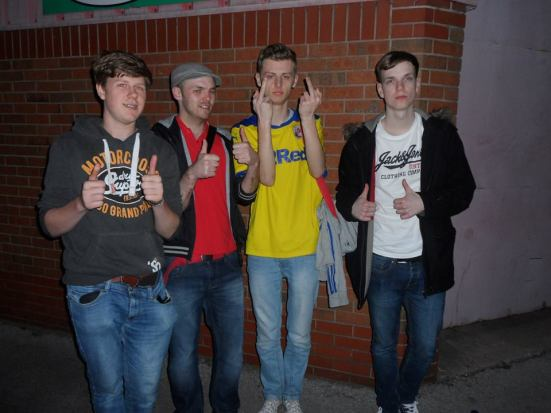 The happiest photo ever. Tom (at least he looks happy), me (half asleep), Craig (well...) and Ben (looking suicidal).