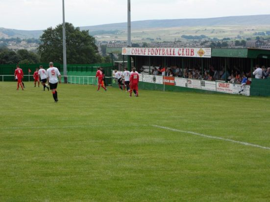 The rather slanting, yet brilliant home, of Colne FC -Holt House.