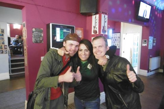 All friends now. Me and George with the Northern Irish girl - my dance partner.
