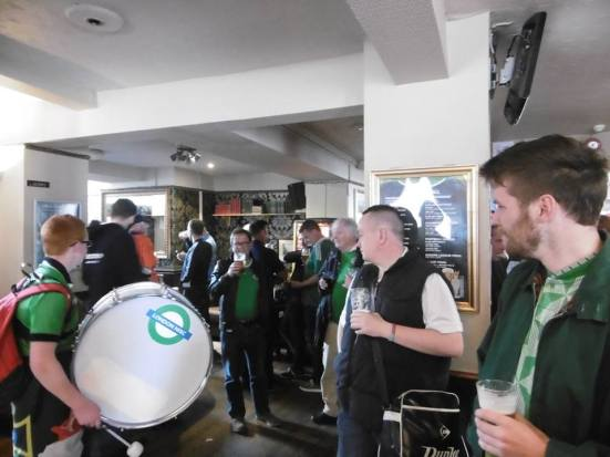 Greeted by the Green and White Army in The Brunswick.