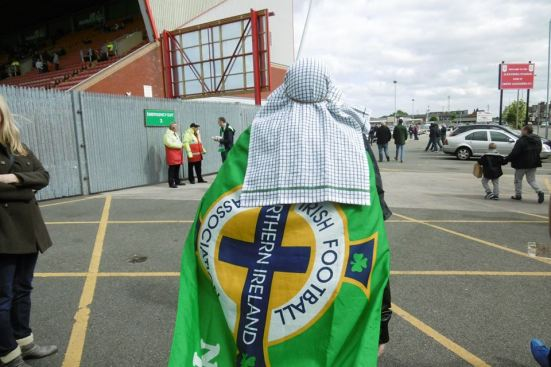 Arriving at Gresty Road with a tea-towel wearing Ulsterman.