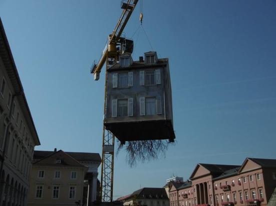 Karlsruhe was a bit of a building site, but I dont know the story behind his randomness! A full on house!