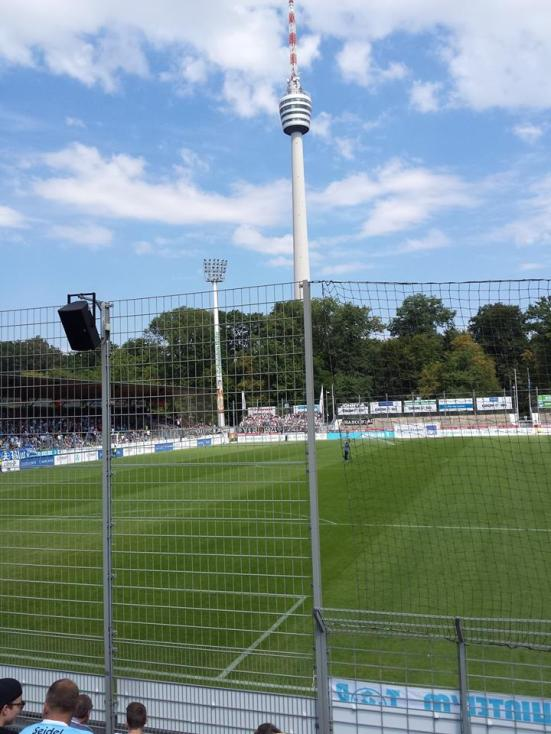 The Fernsehnturm Stuttgart towering over the pitch.