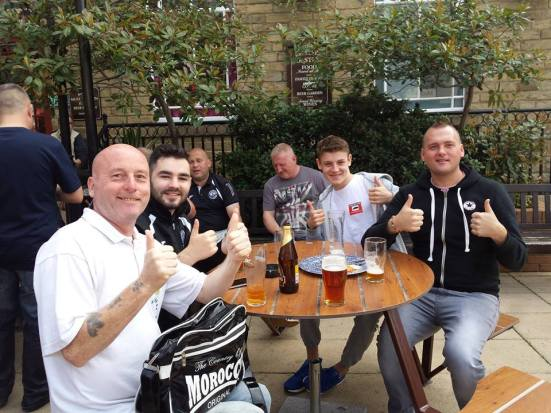 Sean, Gibbo, Zak (complete with self-branding Lost Boyos sticker) and Lee. Thumbs up in Spoons' beer garden.