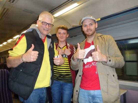 With some Watford fans I befriended on the train.