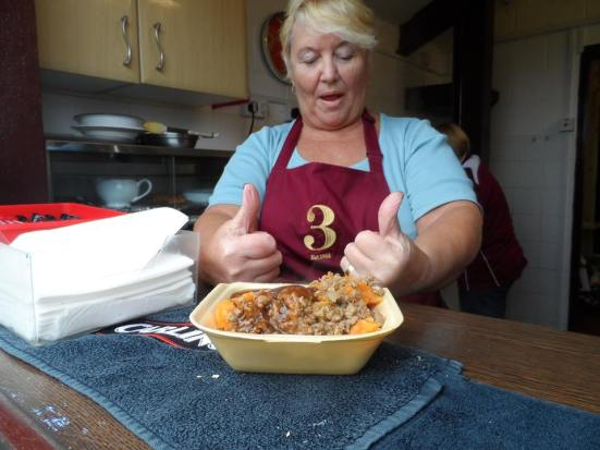 Thumbs up for this lady's minced meat, turnip and carrot (pastry-less) pie.