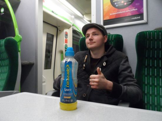 Stu embraces the #NoFlatCapNoParty ethos with his bottle of Lucozade which he bought in the morning and was still going strong by 8pm.