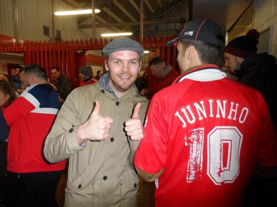 I grew up watching this legend (DISCLAMIER: this photo may not be with the real Juninho and may just be a random Boro fan on the South Stand concourse).