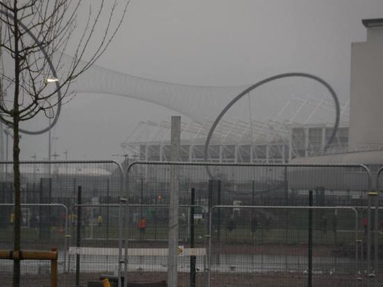 The Riverside Stadium in the distance (hiding behind some sort of giant floating condom).