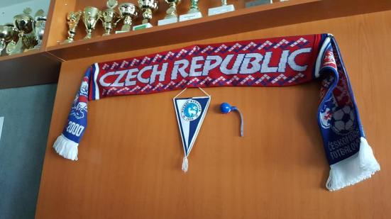 Just to clarify where I was: club pennant and scarf declaring what country I was in.